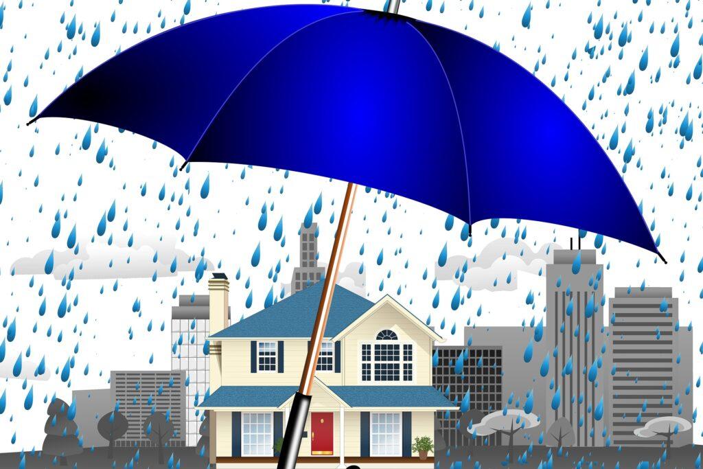 Un parapluie maintien à domicile protège une maison de la maladie
